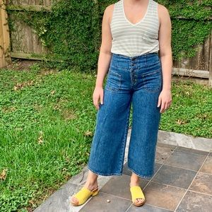 FREE PEOPLE button fly wide leg crop jeans